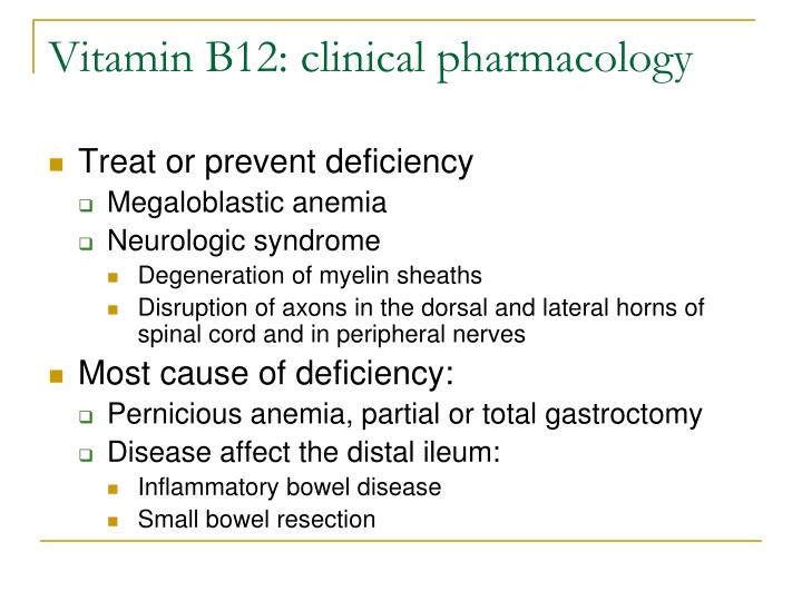 Vitamin B12: clinical pharmacology