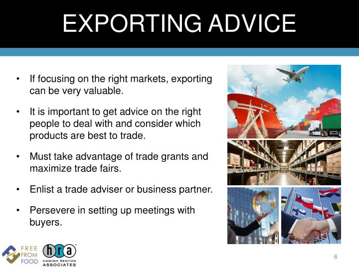 EXPORTING ADVICE