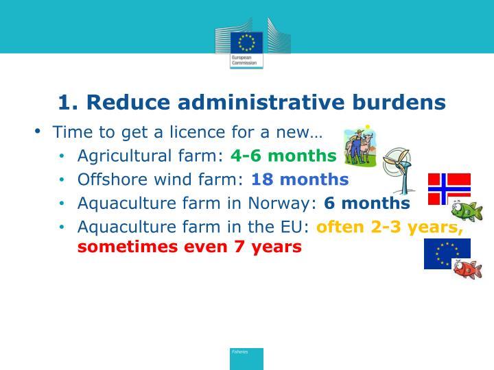 1. Reduce administrative burdens
