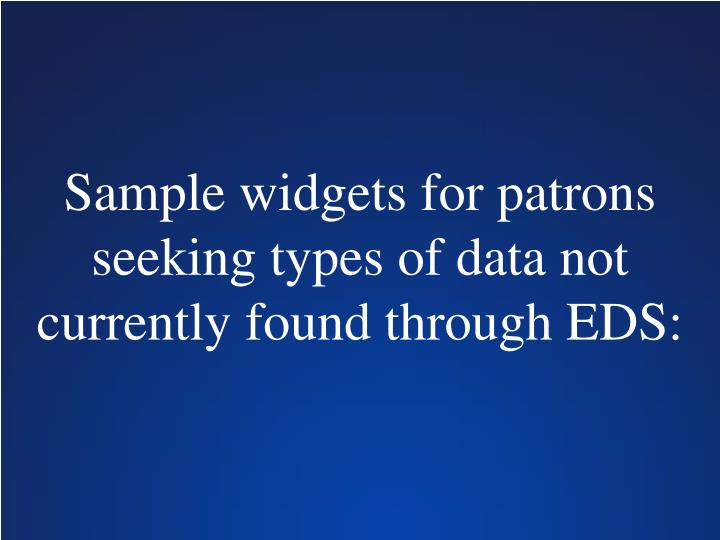 Sample widgets for patrons seeking types of data not currently found through EDS: