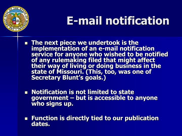 E-mail notification