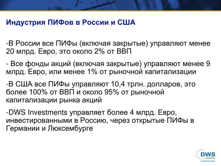 Индустрия ПИФов в России и США