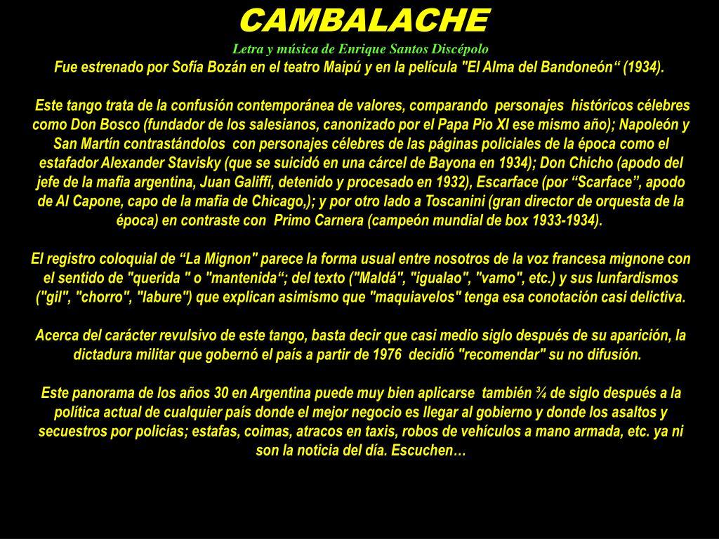 Ppt Cambalache Letra Y Música De Enrique Santos Discépolo Powerpoint Presentation Id 2957673