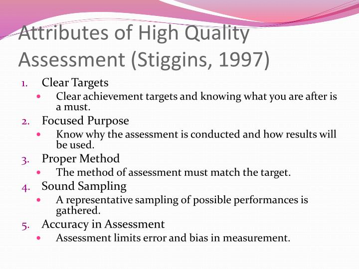 assessment essay quality stiggins Key ideas about quality assessmentmcmillan (2011) defines quality assessment as gathering evidence that demonstrates the knowledge and skills that students comprehend pre-assessment, formative assessment and summative assessment is how the evidence is gathered, teachers analyse the assessment results and make decisions about any potential learning deficit.