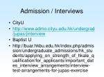 admission interviews