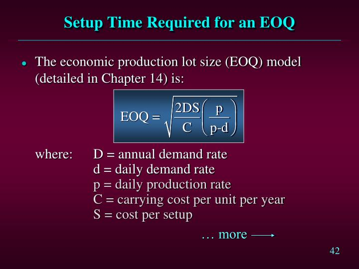 Setup Time Required for an EOQ