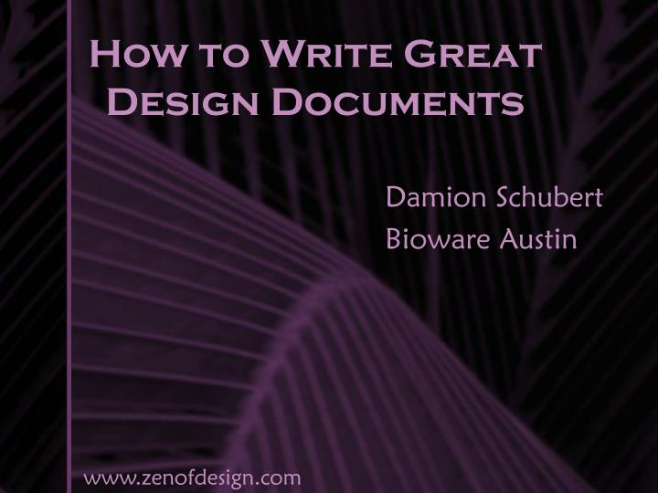 how to write great design documents n.