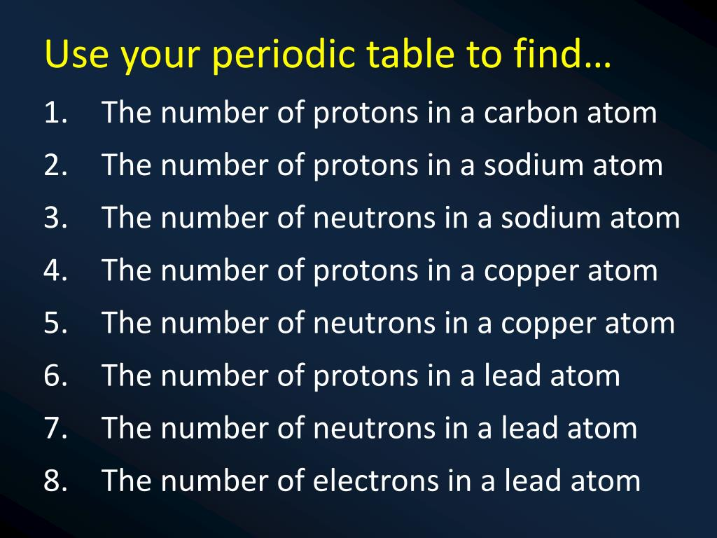 PPT - Atomic Number & Mass Number Atomic number = the number of