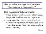 how can risk management increase the value of a corporation