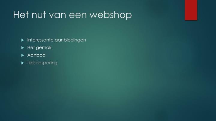 Het nut van een webshop