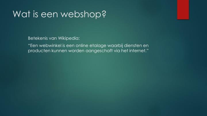Wat is een webshop