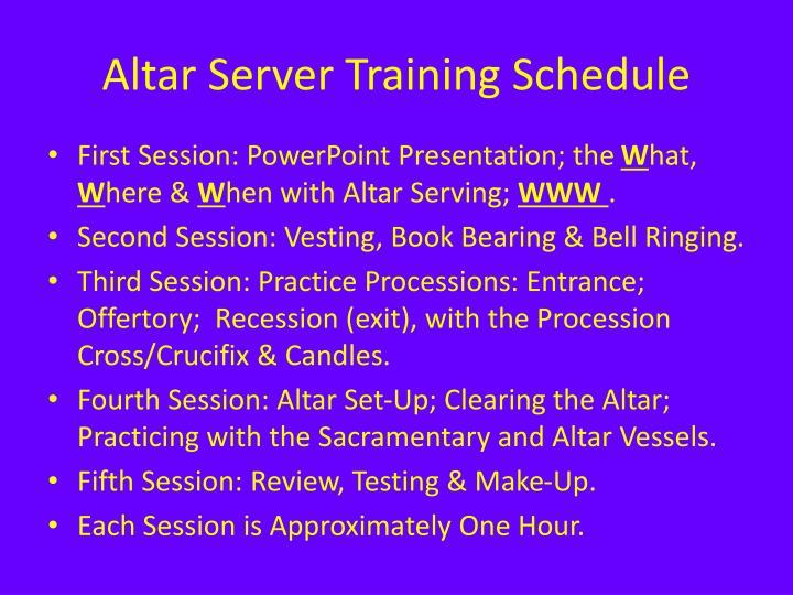 Altar server training schedule