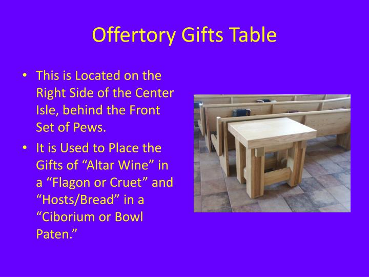 Offertory Gifts Table
