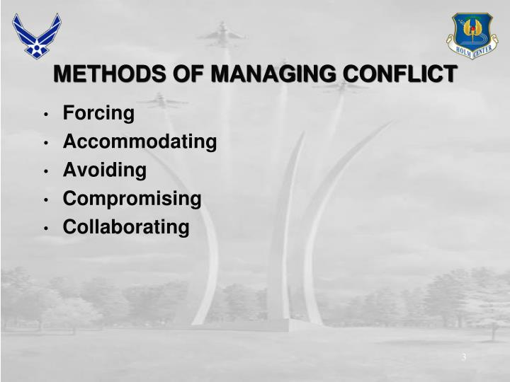 Methods of managing conflict