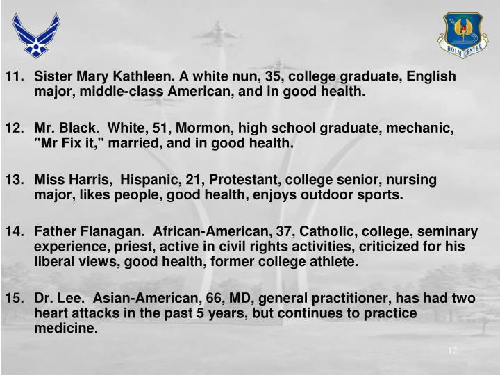 Sister Mary Kathleen. A white nun, 35, college graduate, English major, middle-class American, and in good health.