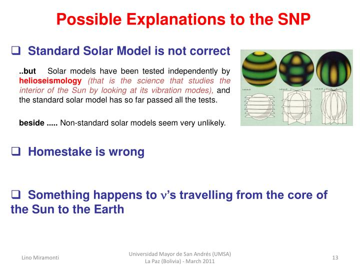 Possible Explanations to the SNP
