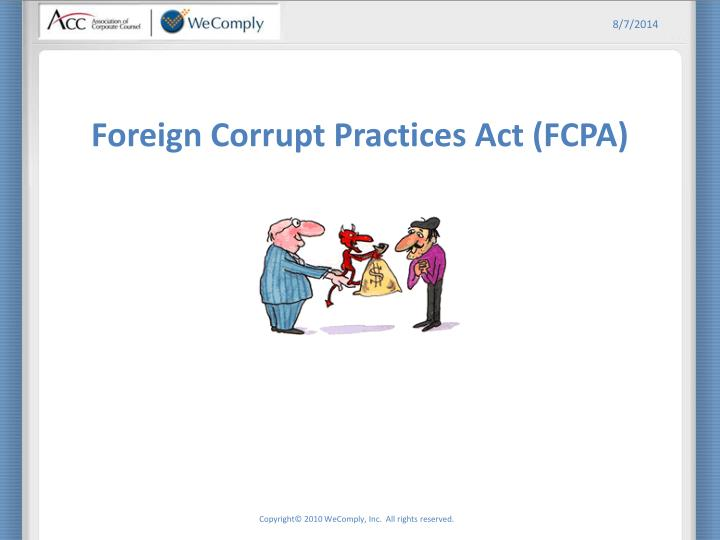 Ppt Foreign Corrupt Practices Act Fcpa Powerpoint