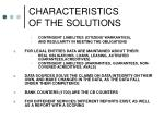 characteristics of the solutions1
