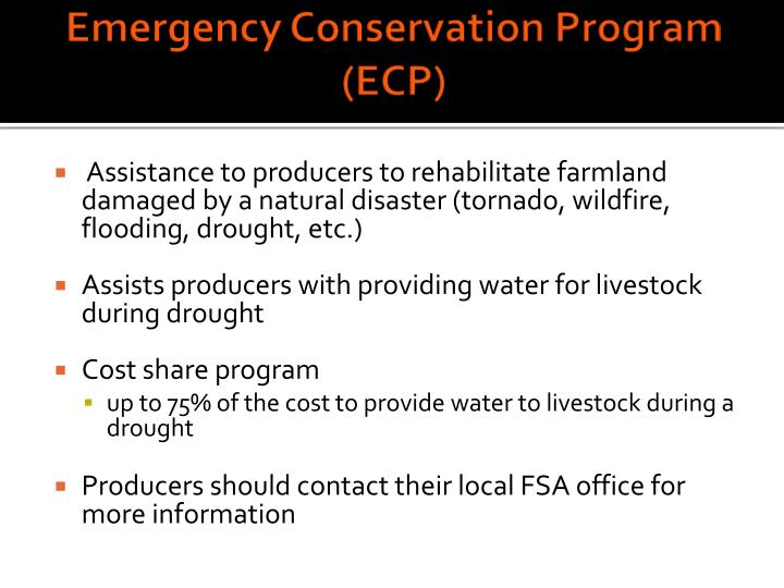 Emergency Conservation Program (ECP)