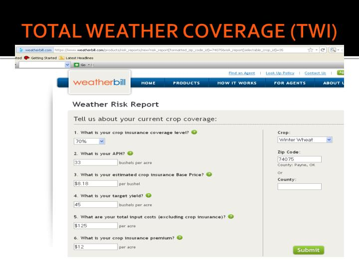 TOTAL WEATHER COVERAGE (TWI)