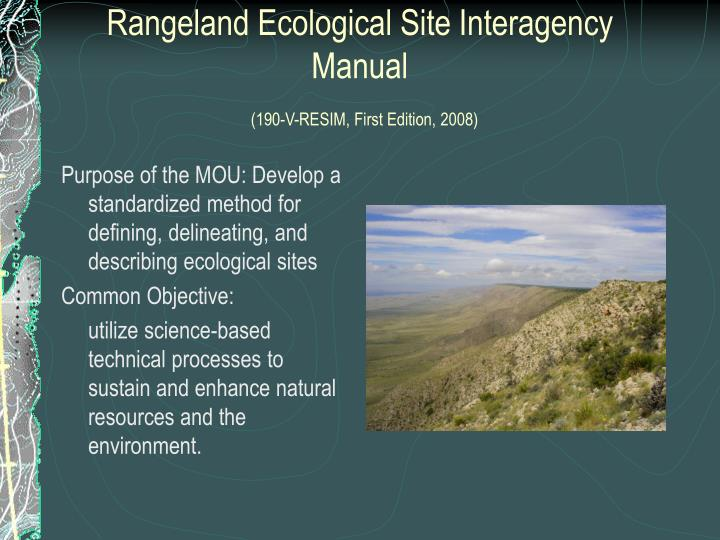 Rangeland ecological site interagency manual 190 v resim first edition 2008