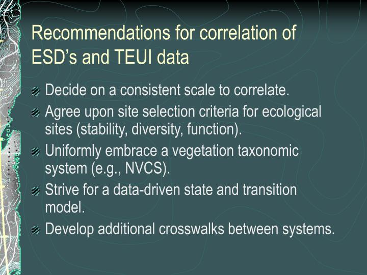 Recommendations for correlation of ESD's and TEUI data