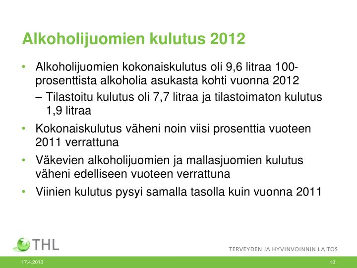 Alkoholijuomien kulutus 2012
