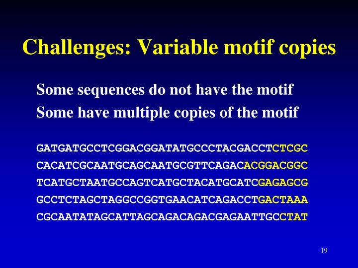 Challenges: Variable motif copies