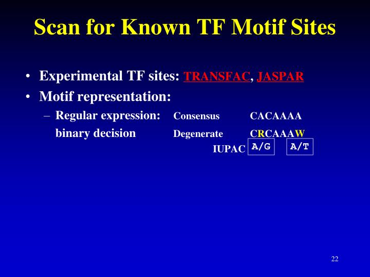 Scan for Known TF Motif Sites