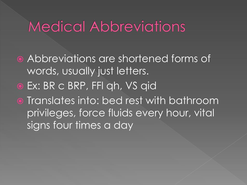 PPT - Medical Abbreviations PowerPoint Presentation - ID ...