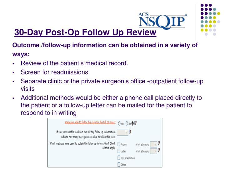 30-Day Post-Op Follow Up Review