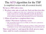 the aco algorithm for the tsp a simplified version with all essential details