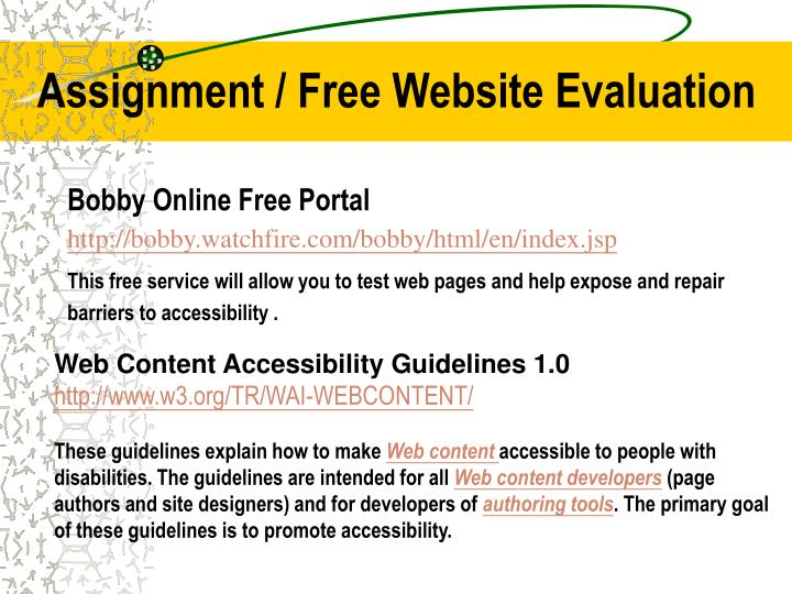 Assignment / Free Website Evaluation
