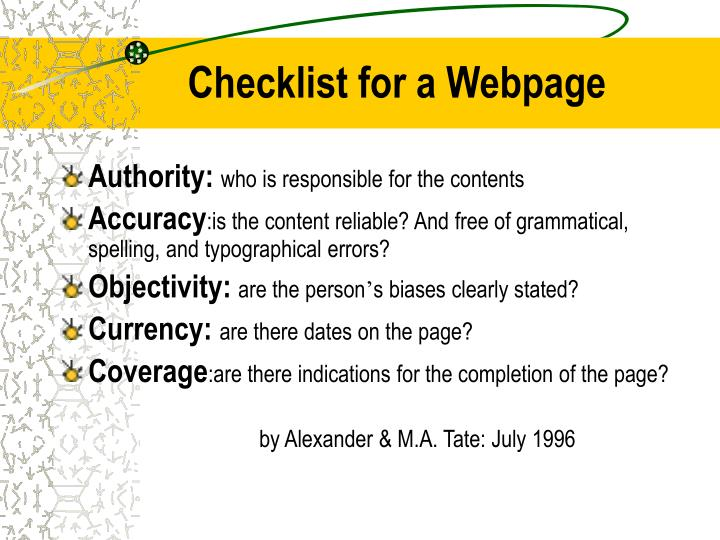 Checklist for a Webpage