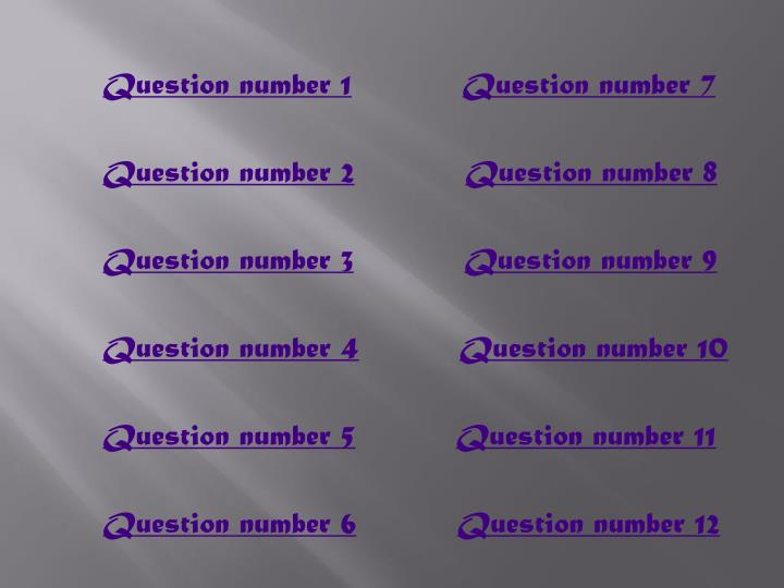 Question number 1