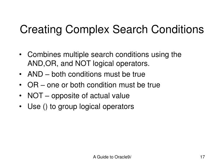 Creating Complex Search Conditions