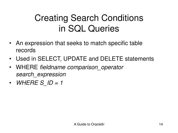 Creating Search Conditions