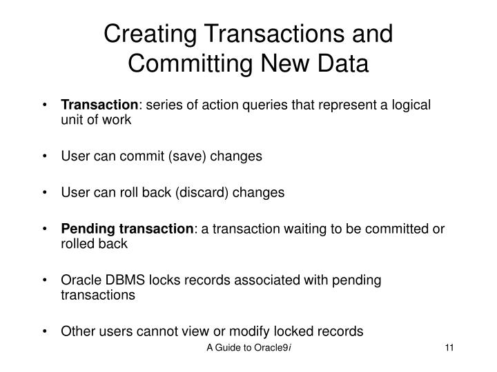 Creating Transactions and