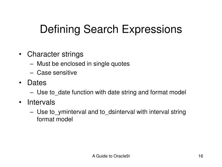 Defining Search Expressions