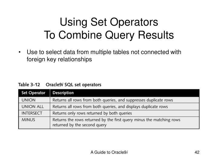Using Set Operators