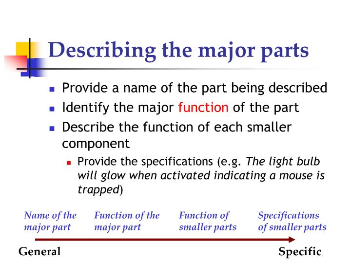 Describing the major parts