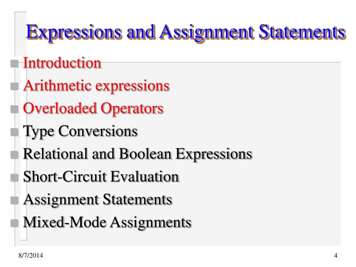 Expressions and Assignment Statements