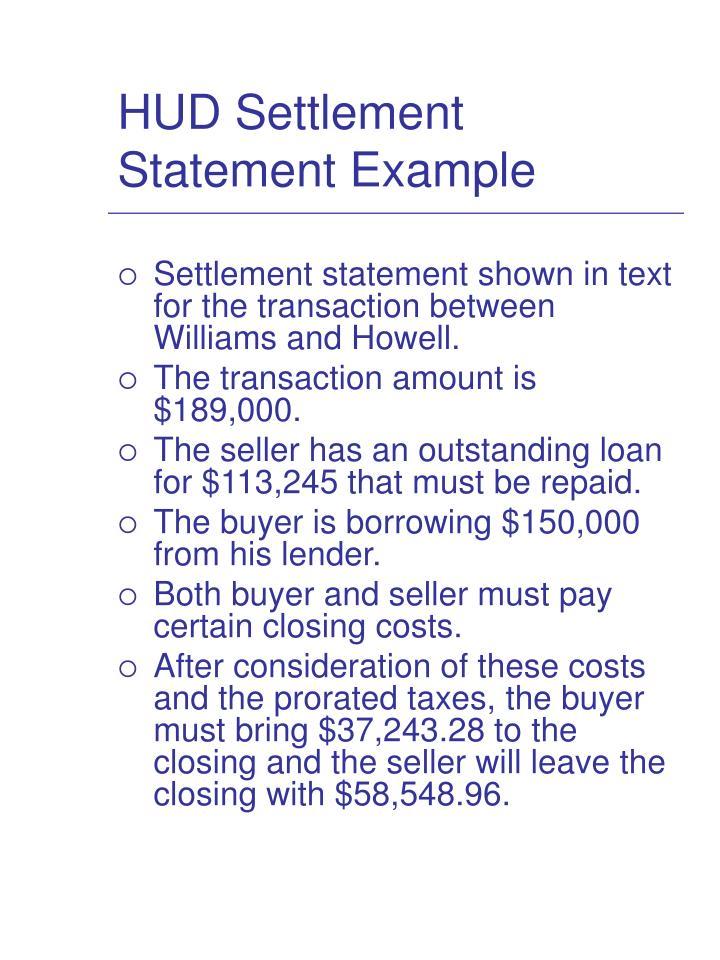 HUD Settlement Statement Example