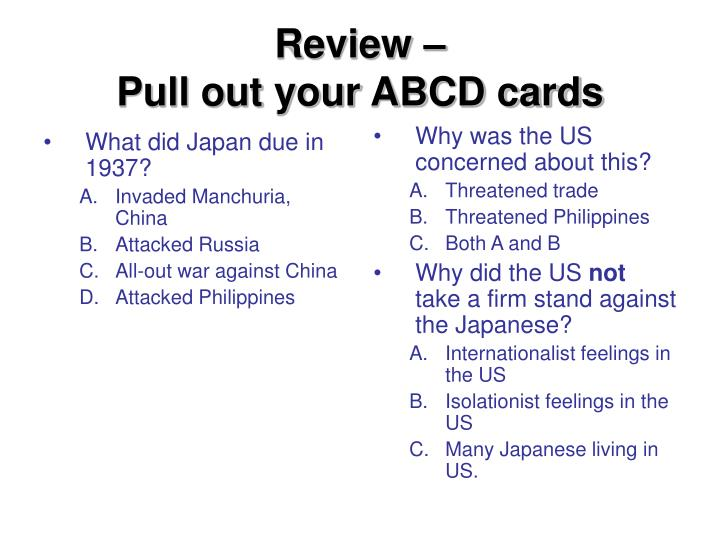 Review pull out your abcd cards