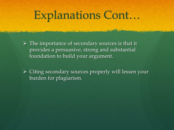 Explanations Cont…