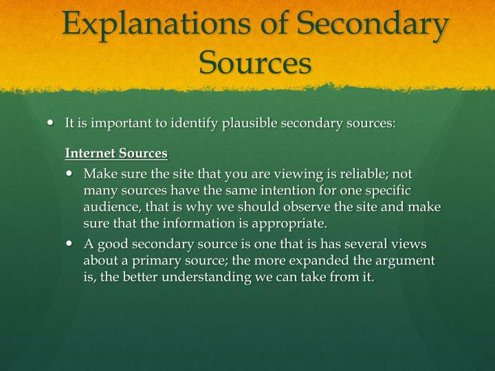 Explanations of Secondary Sources