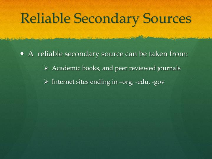 Reliable secondary sources