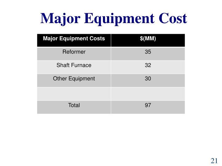 Major Equipment Cost