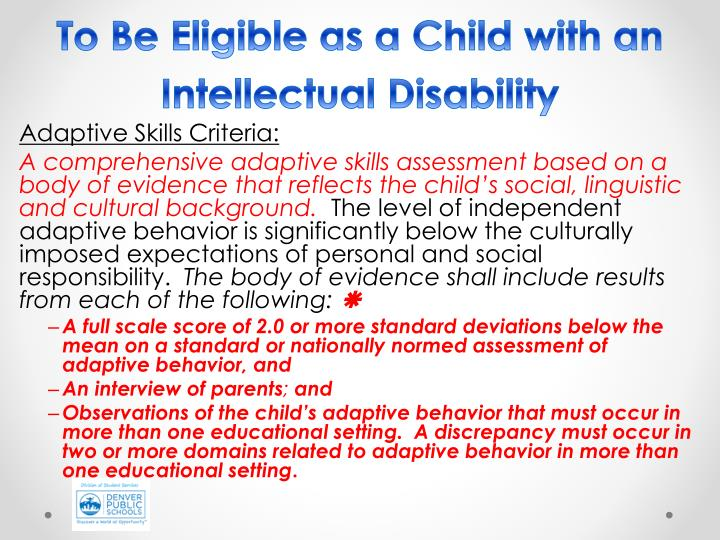 To Be Eligible as a Child with an Intellectual Disability
