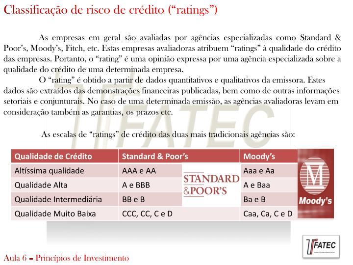 """Classificação de risco de crédito ("""""""